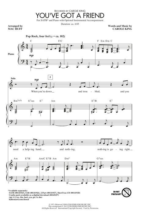 You Ve Got A Friend Ssatb music sheet