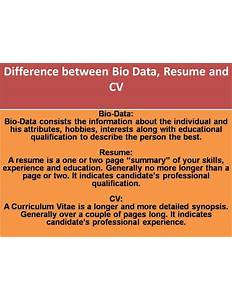 Difference Between Cv, Resume And Bio