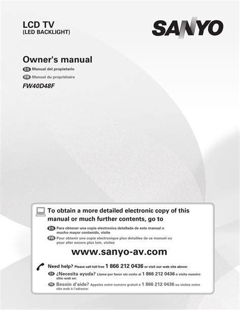 Sanyo Owner Manual (ePUB/PDF)
