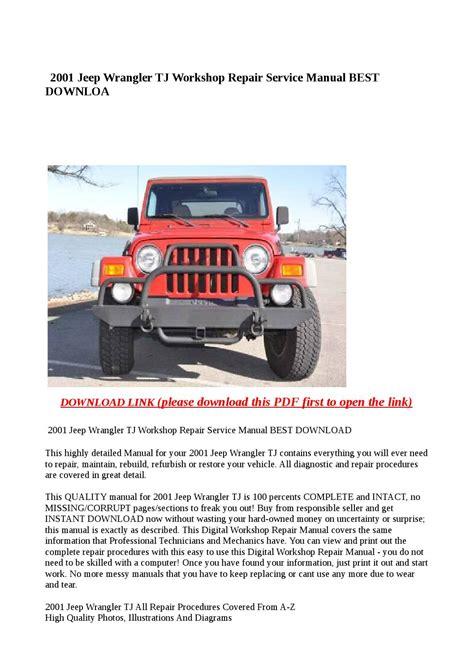 2001 Jeep Wrangler Service Manual Pdf (ePUB/PDF)