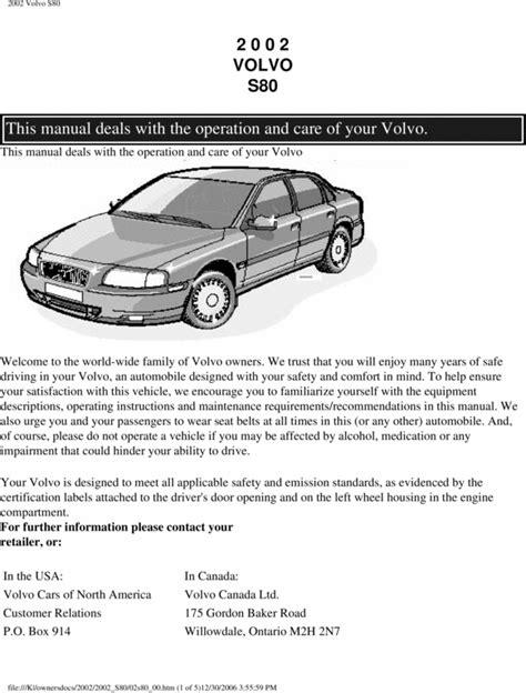 2002 Volvo S80 Owners Manual (ePUB/PDF)
