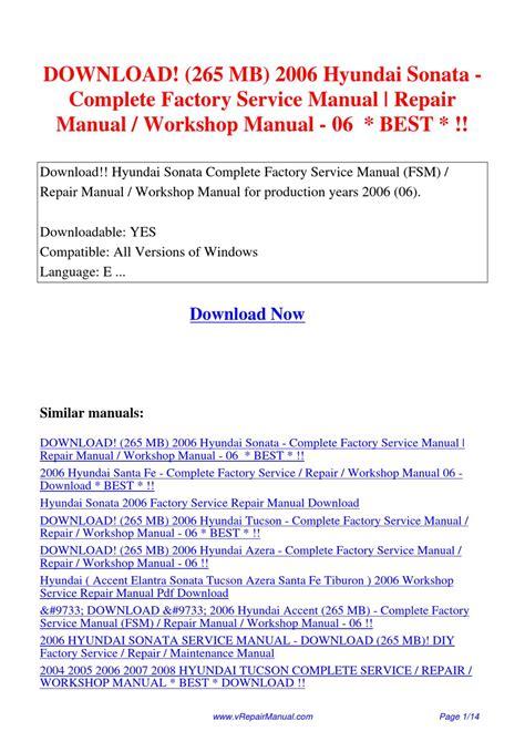 2006 Hyundai Sonata Service Manual (ePUB/PDF)
