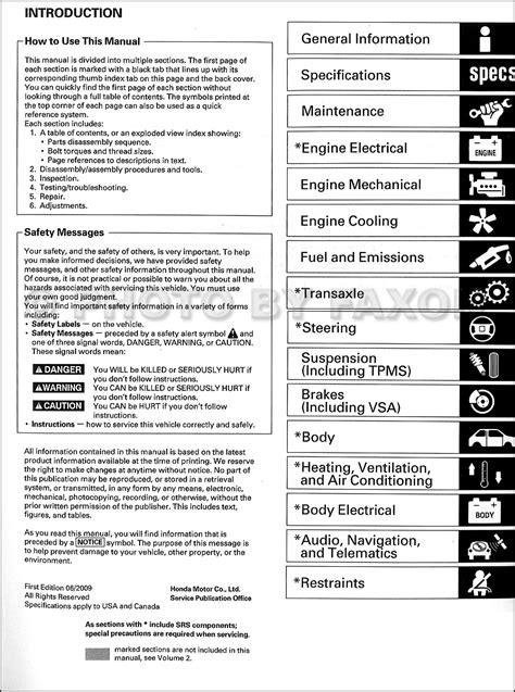 2009 Acura Tsx Repair Manual (ePUB/PDF)