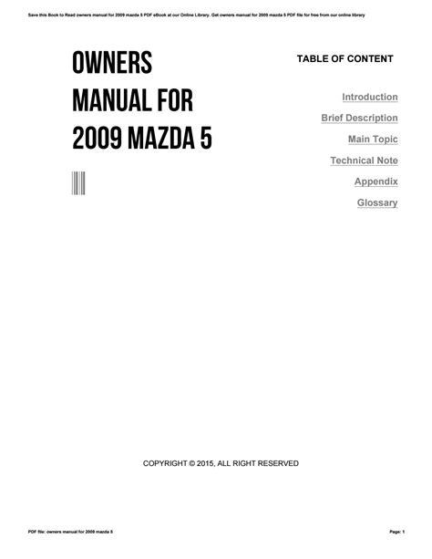 2009 Mazda 5 Owners Manual Pdf ePUB/PDF
