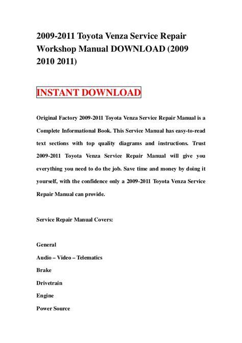 2009 Toyota Venza Service Repair Manual Software - data.member.pdf ...