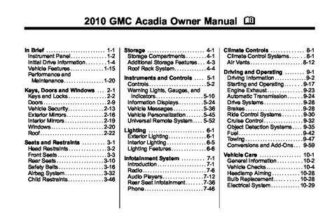 2010 Gmc Acadia Owners Manual (ePUB/PDF) Free