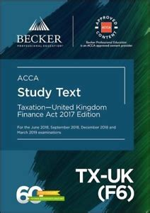 Acca Approved Taxation United Kingdom Tx Uk F6 Finance Act