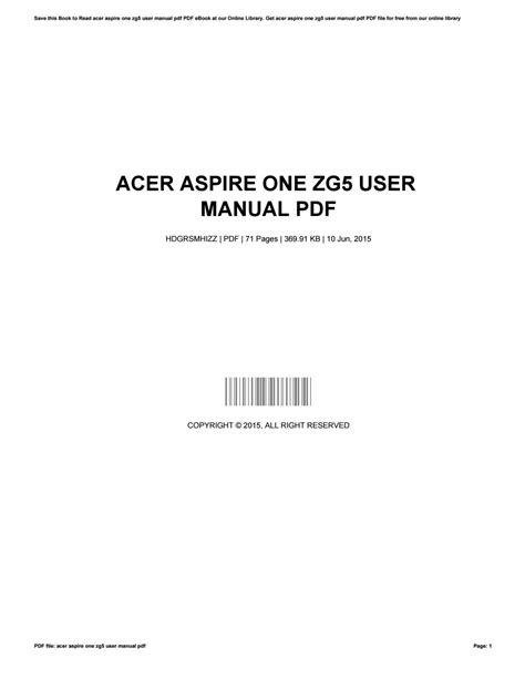 Acer One Manual Pdf (ePUB/PDF) Free