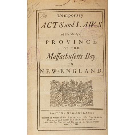 Acts And Laws Of His Majesties Province Of The Massachusettsbay In Newengland 1699