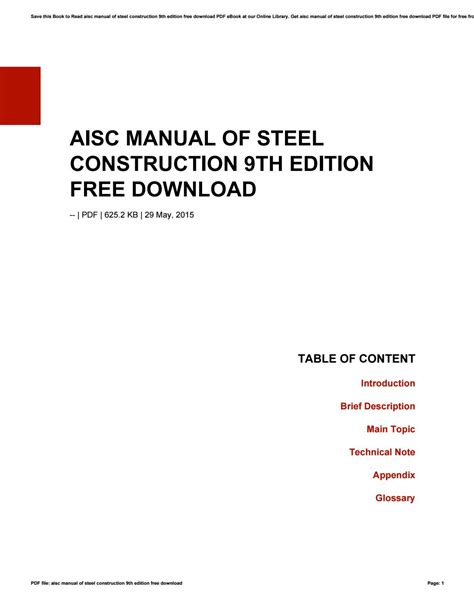 Aisc Steel Construction Manual 9th Ed ePUB/PDF
