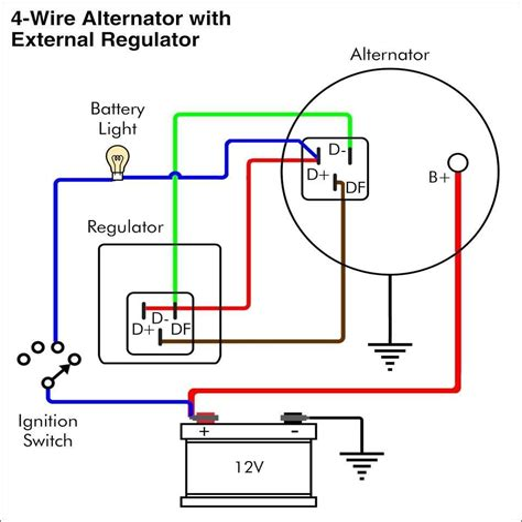 alternator warning light wiring diagram alternator wiring diagram with voltage regulator  alternator wiring diagram with voltage