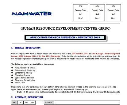 Application Form For Namwater Okahandja 2015 (ePUB/PDF)