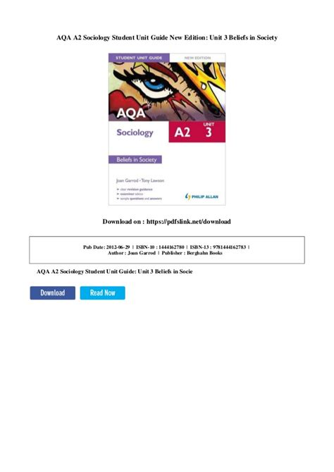Aqa A2 Sociology Student Unit Guide Unit 3 Beliefs In Society ...