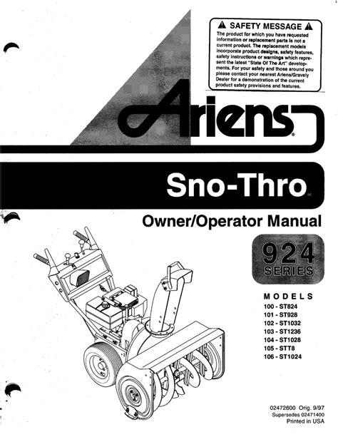 Ariens St824 Owners Manual (ePUB/PDF)