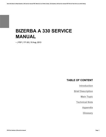 Bizerba A 330 Service Manual (ePUB/PDF)