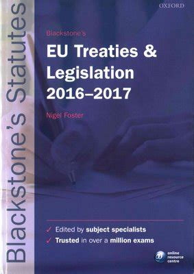 Blackstones Eu Treaties Legislation 20162017