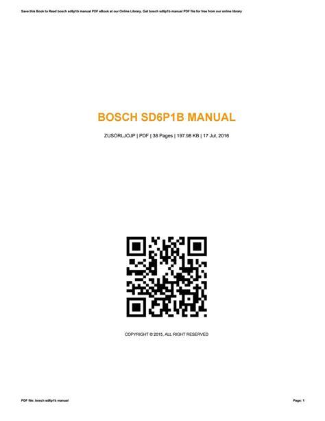 Magnificent Bosch Sd6P1B Manual Epub Pdf Wiring 101 Capemaxxcnl