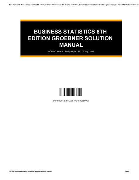 Business Statistics 8th Edition Groebner Solution Manual (ePUB/PDF)