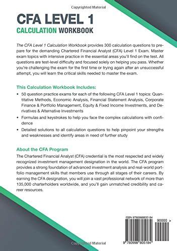 CFA Level 1 Calculation Workbook 300 Calculations To Prepare For The CFA Level 1 Exam 2018 Edition