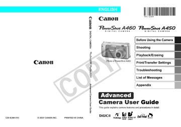 Canon A460 Advanced Manual (ePUB/PDF)