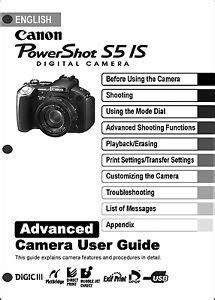 Canon Powershot S5 User Manual (ePUB/PDF) Free