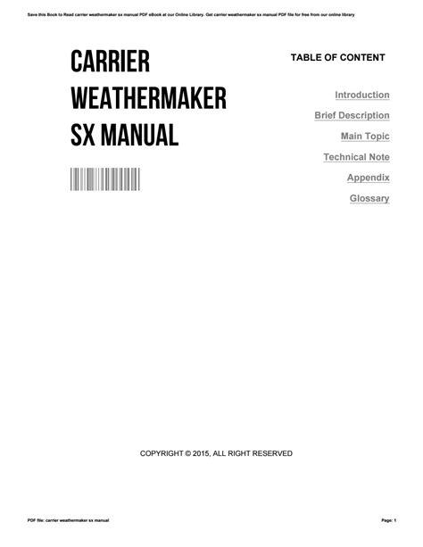 Carrier Weathermaker Sx Manual (ePUB/PDF)