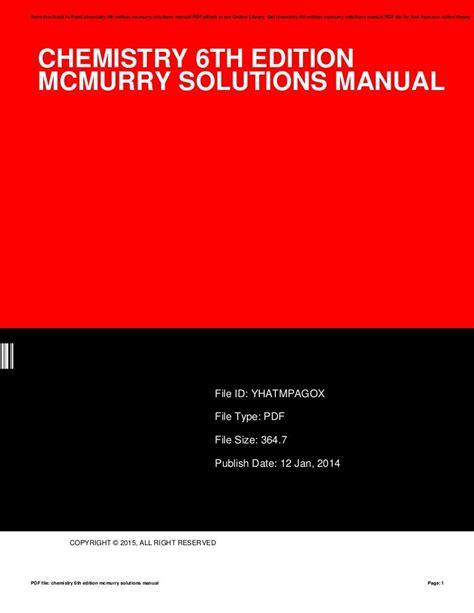 Chemistry 6th Edition Mcmurry Solutions Manual (ePUB/PDF)