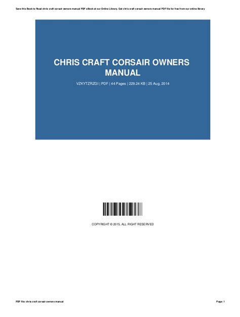 Chris Craft Corsair Owners Manual (ePUB/PDF)