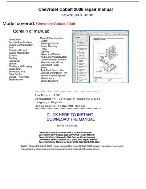 Cobalt Chevrolet Service Manual (ePUB/PDF) Free