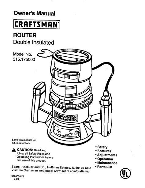 Craftsman Router Manuals | Pdf/ePub Library