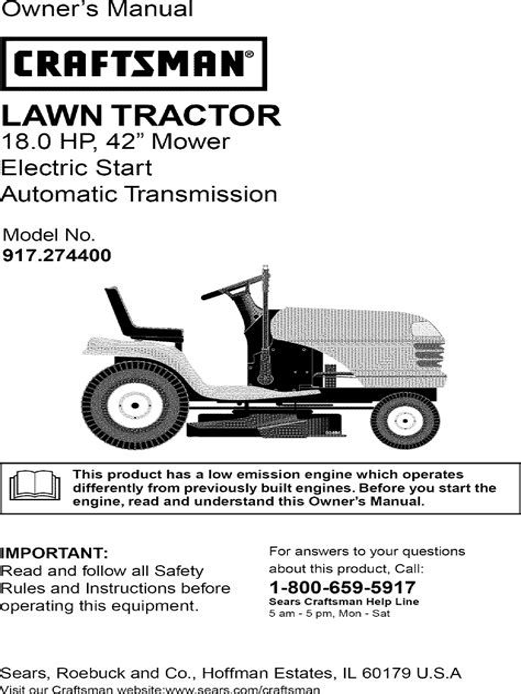 Craftsman Tractor Owners Manual (ePUB/PDF)