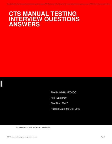 Cts Manual Testing Interview Questions Answers (ePUB/PDF) Free