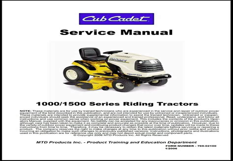 Cub Cadet 1000 1500 Series Riding Tractor Factory Service Repair ...