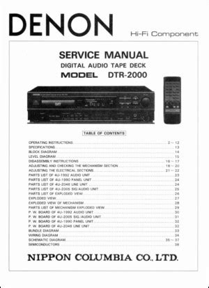 Denon Dtr 2000 Service Manual (ePUB/PDF)