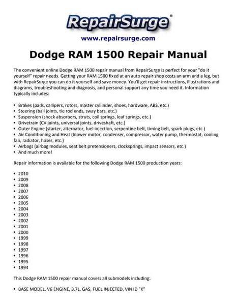 Dodge Ram 1994 Repair Service Manual ePUB/PDF