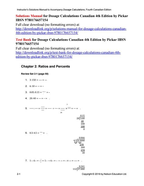 Dosage Calculations Manual