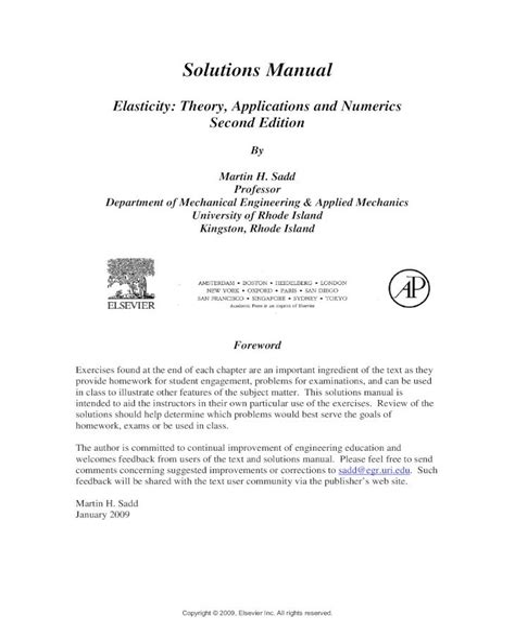 Elasticity Sadd Solution Manual (ePUB/PDF) Free