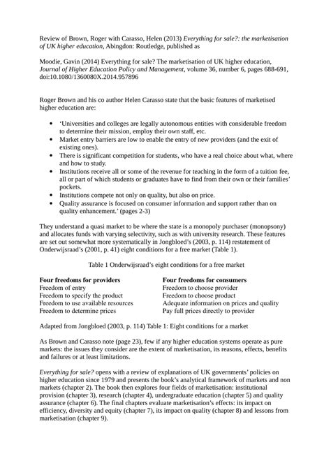Everything For Sale The Marketisation Of UK Higher Education Research Into Higher Education