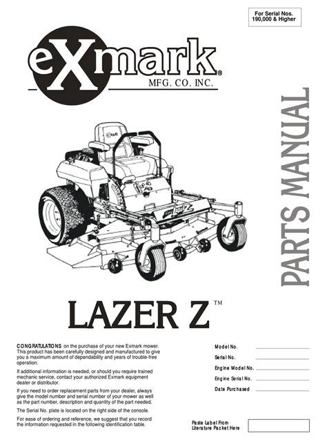 Exmark Lazer Z Manual Parts Manual (Free ePUB/PDF)