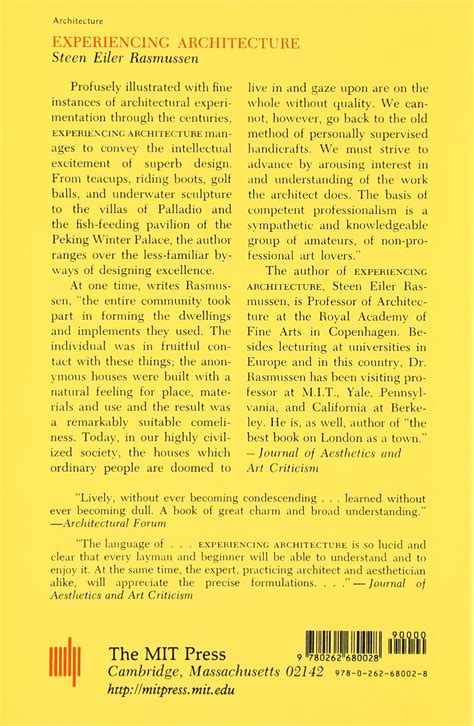 Experiencing Architecture Mit Press English Edition By Steen