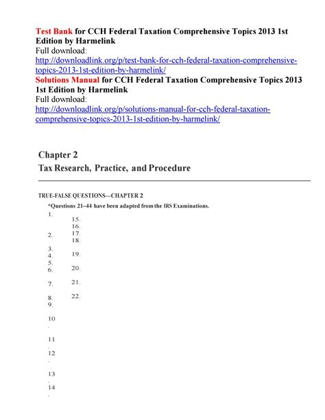 Federal Taxation 2013 Solutions Manual Ch 9 (ePUB/PDF) Free