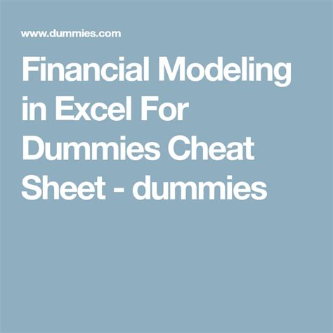 Financial Modeling In Excel For Dummies For Dummies Lifestyle
