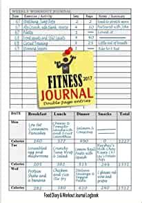Fitness Journal 2017 Workout Log Food Journal Keep Fit Track Your Food Workouts Easily With This Handy Weight Loss Journal Fitness Journals 2017 Volume 1