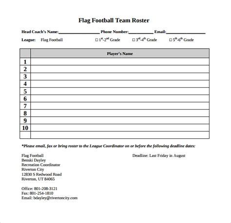 Flag Football Roster Template (ePUB/PDF) Free