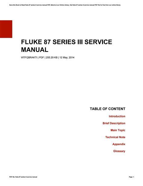 Fluke 87 Iii Service Manual (ePUB/PDF) Free