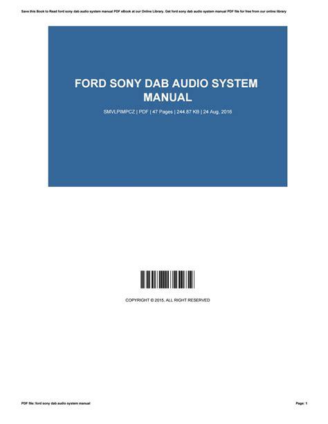Ford Sony Audio System Manual (ePUB/PDF)
