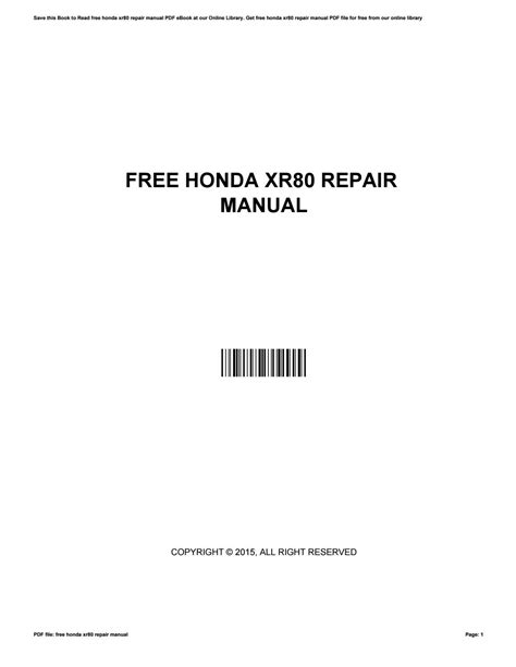 Free Xr80 Service Manual (ePUB/PDF)