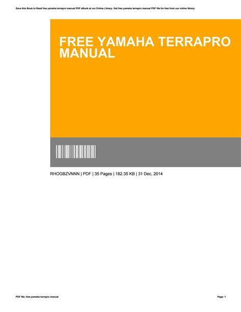 Download Free Yamaha Terrapro Manual From books577.myq-see.com on