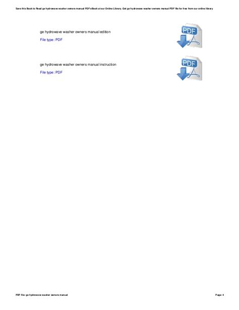 Ge Hydrowave Washer Owners Manual (ePUB/PDF)