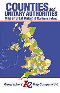 Great Britain Counties Unitary Authorities Map AZ Road Maps Atlases